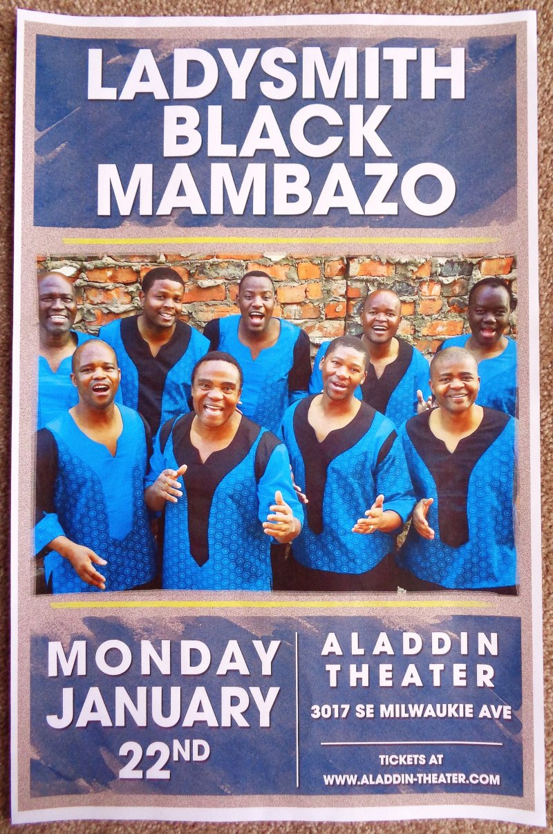 LADYSMITH BLACK MAMBAZO 2018 Gig POSTER Portland Oregon Concert South Africa