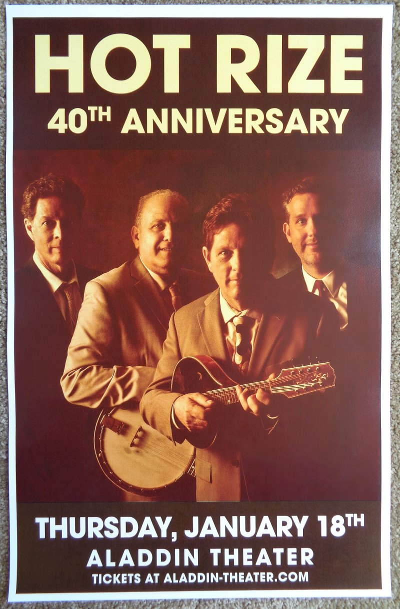 Image 0 of HOT RIZE 2018 Gig POSTER Portland Oregon Concert Bluegrass 40th Anniversary Tour