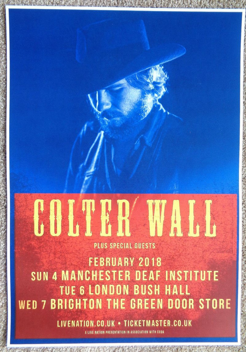 Image 0 of Wall COLTER WALL 2018 Gig Poster UK Concert London Manchester Brighton