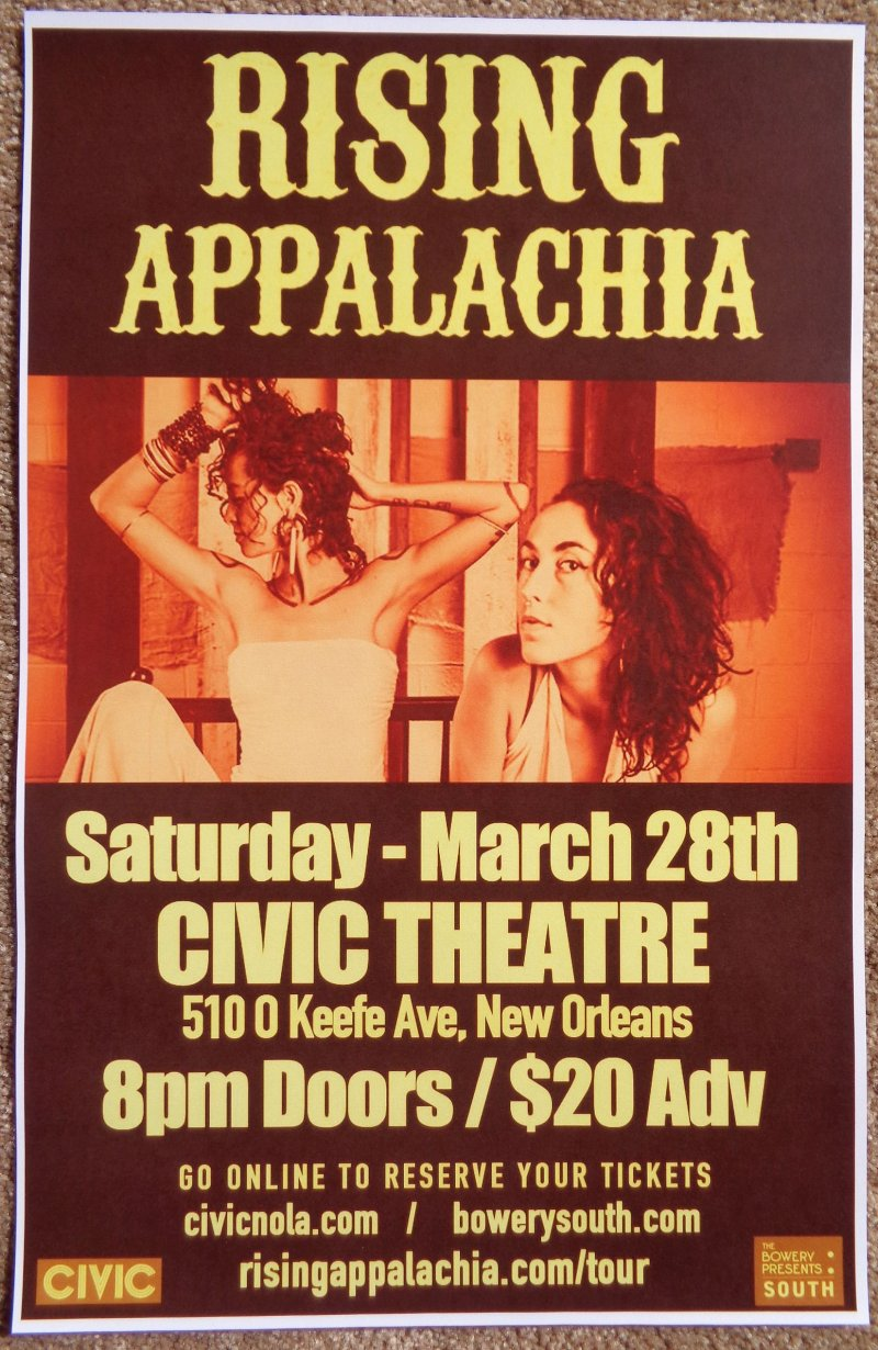 RISING APPALACHIA 2015 Gig POSTER New Orleans Concert Louisiana