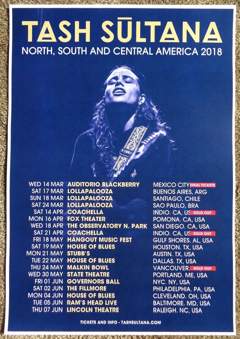 Image 0 of Sultana TASH SULTANA 2018 Tour POSTER March-June Gig Concert