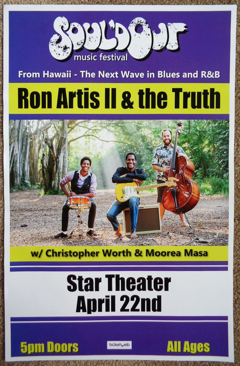 Artis RON ARTIS II & THE TRUTH 2018 POSTER Oregon Souled SOUL D OUT FESTIVAL