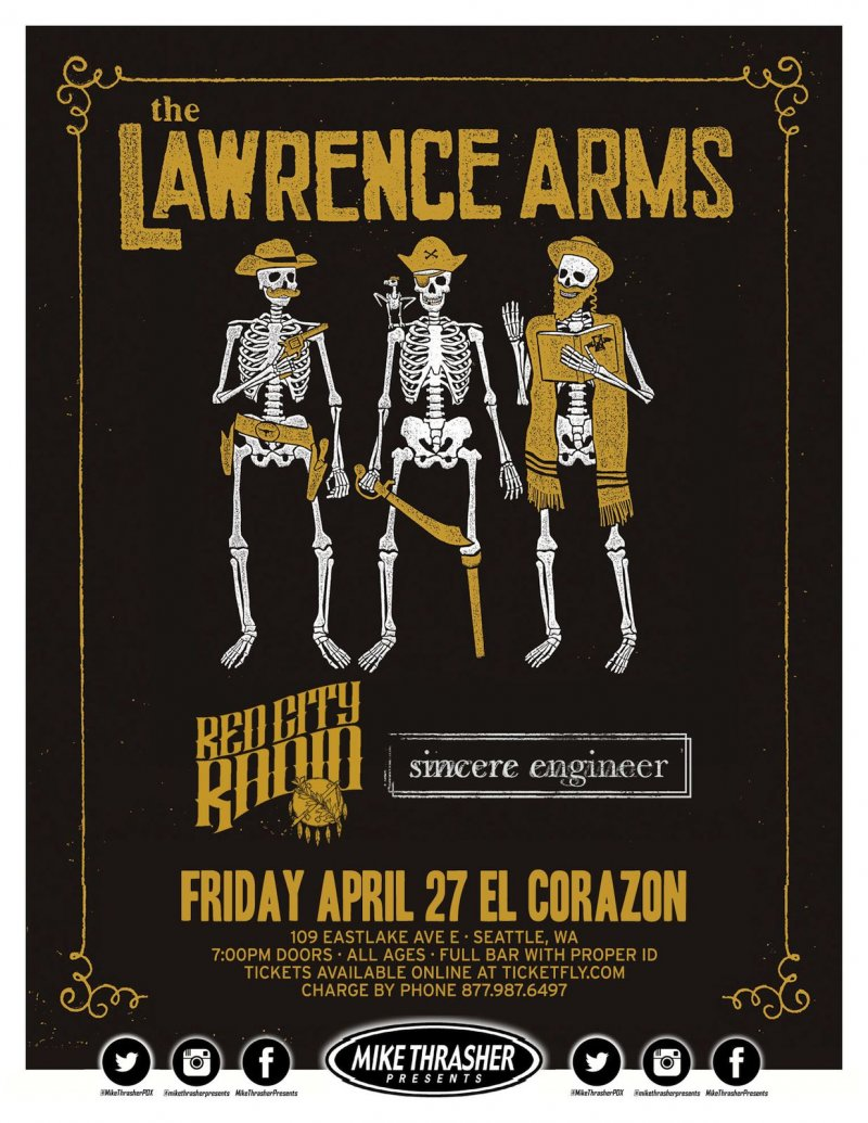 Image 0 of Lawrence Arms THE LAWRENCE ARMS 2018 Gig POSTER Seattle Washington Concert