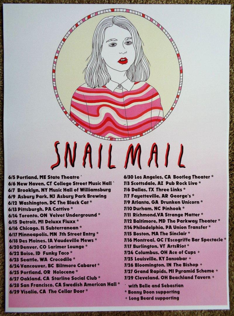 Image 0 of SNAIL MAIL 2018 Tour POSTER Gig Concert Lindsey Jordan June-July
