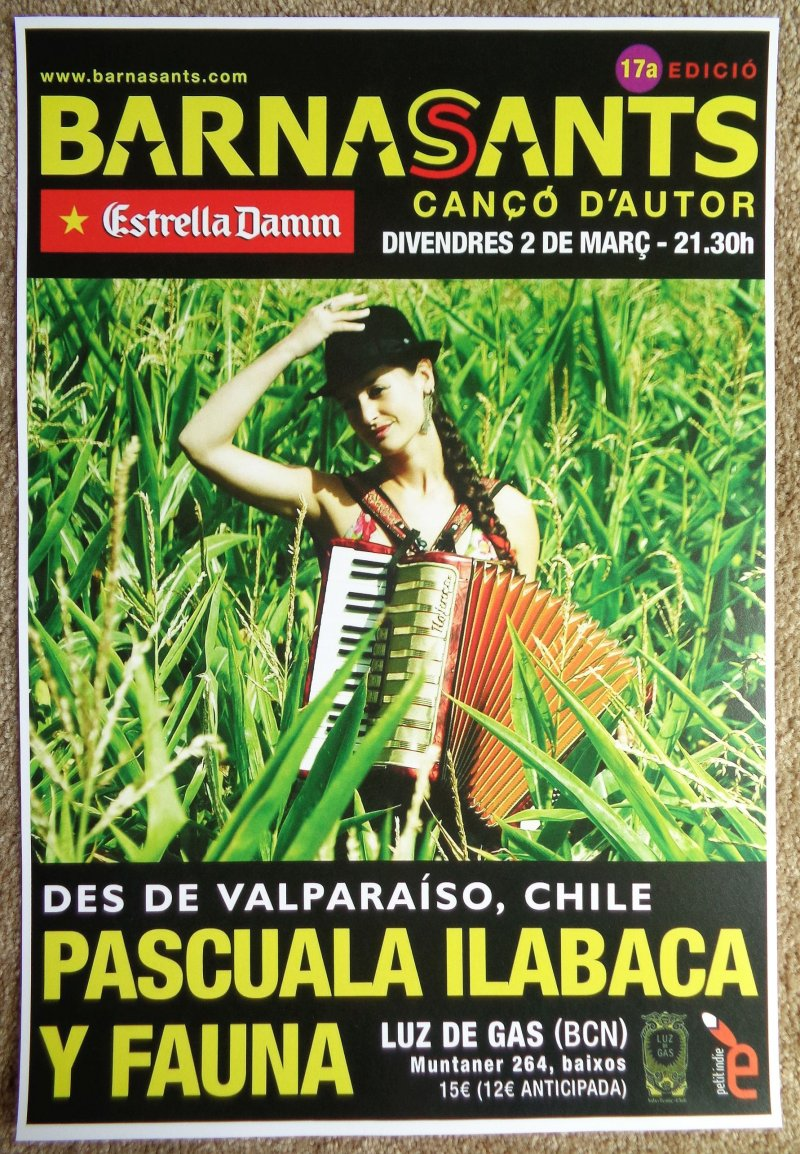 Ilabaca PASCUALA ILABACA Y FAUNA 2012 Gig POSTER Barcelona Spain Concert