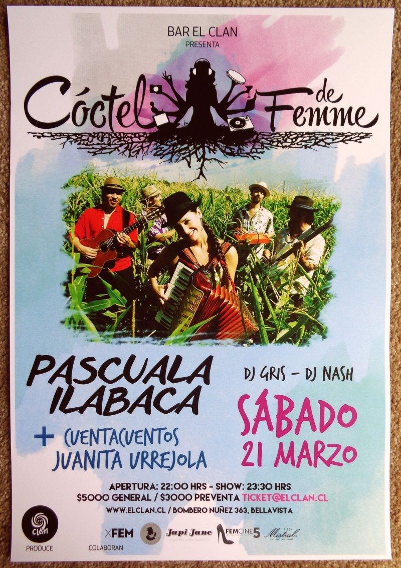 Ilabaca PASCUALA ILABACA Y FAUNA 2015 Gig POSTER Santiago Chile Concert