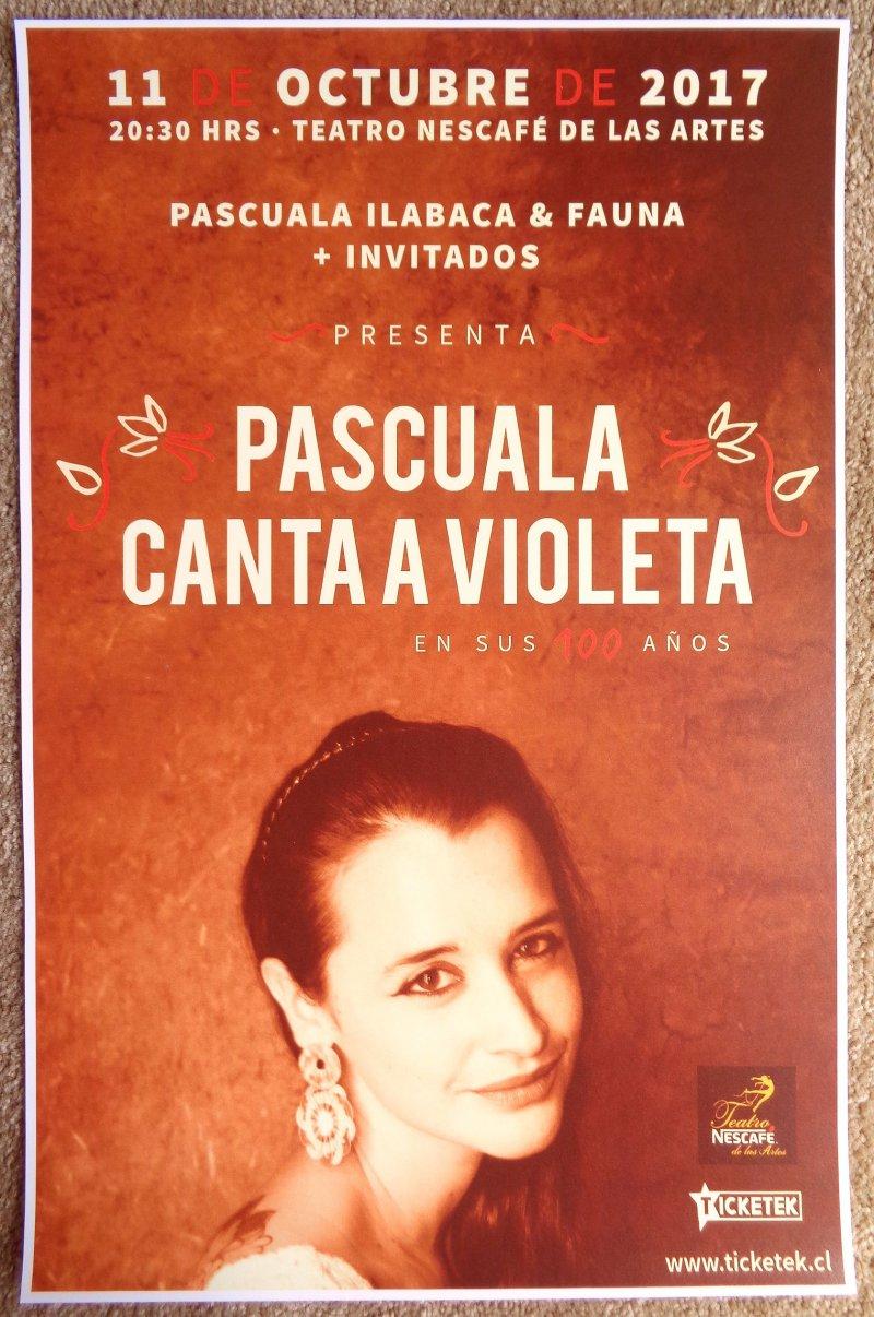 Ilabaca PASCUALA ILABACA Y FAUNA 2017 Gig POSTER Santiago Chile Concert