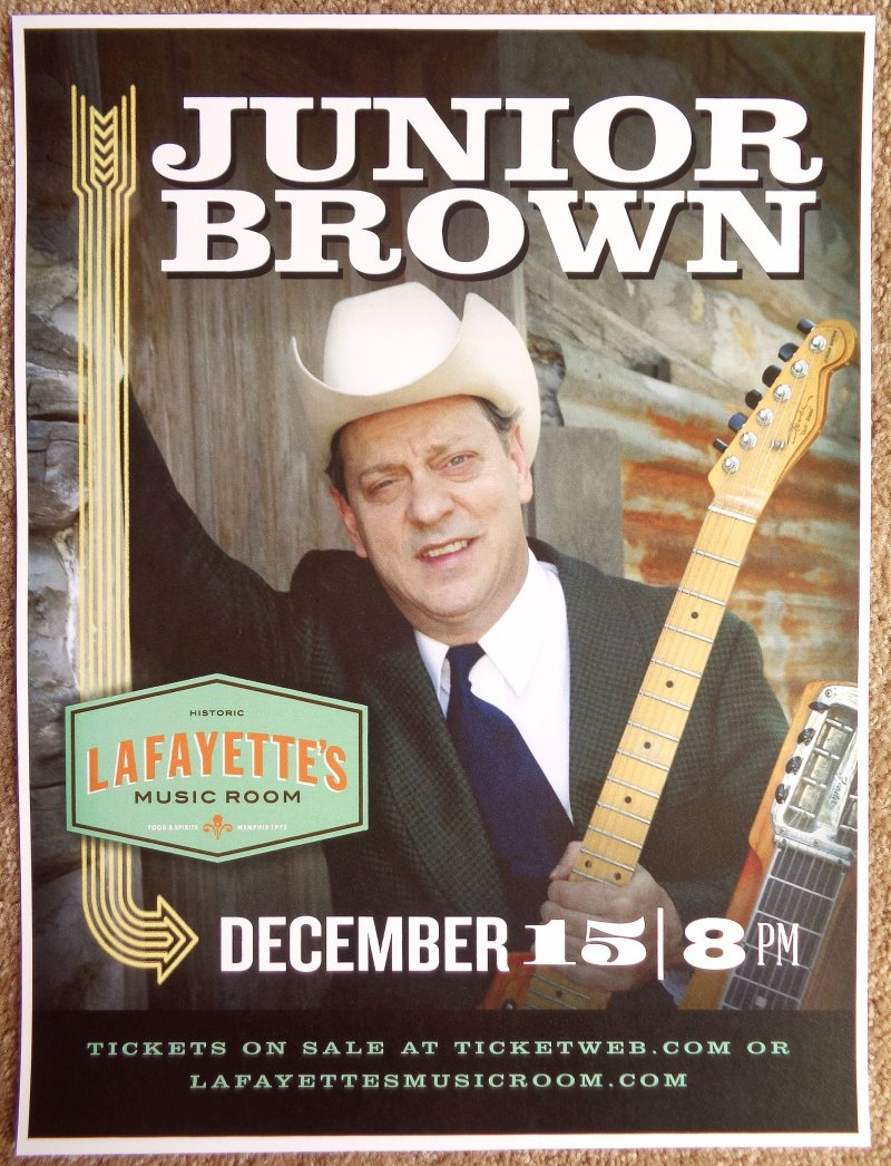 Brown JUNIOR BROWN 2015 Gig POSTER Memphis Tennessee Concert