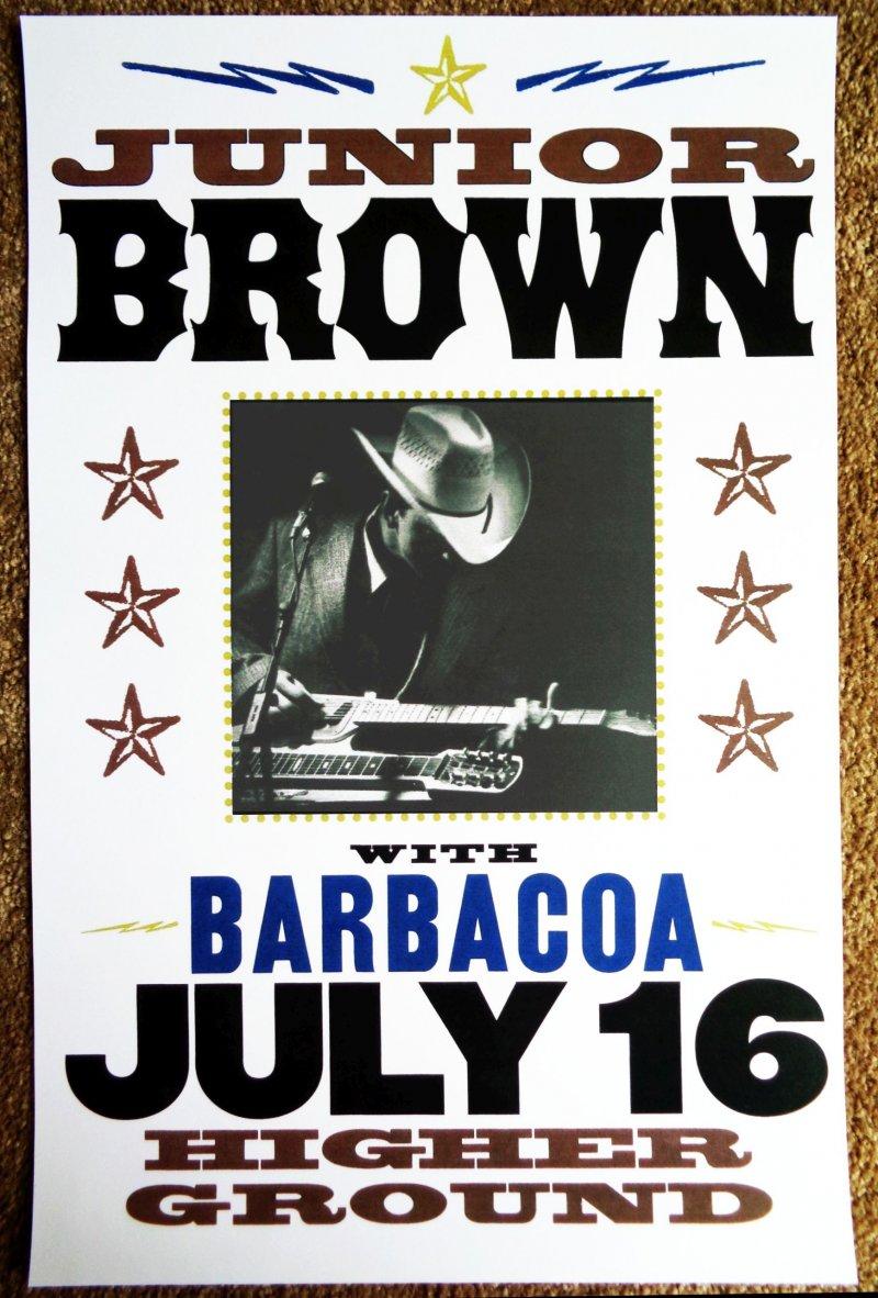 Brown JUNIOR BROWN 1999 Gig POSTER South Burlington Vermont Concert
