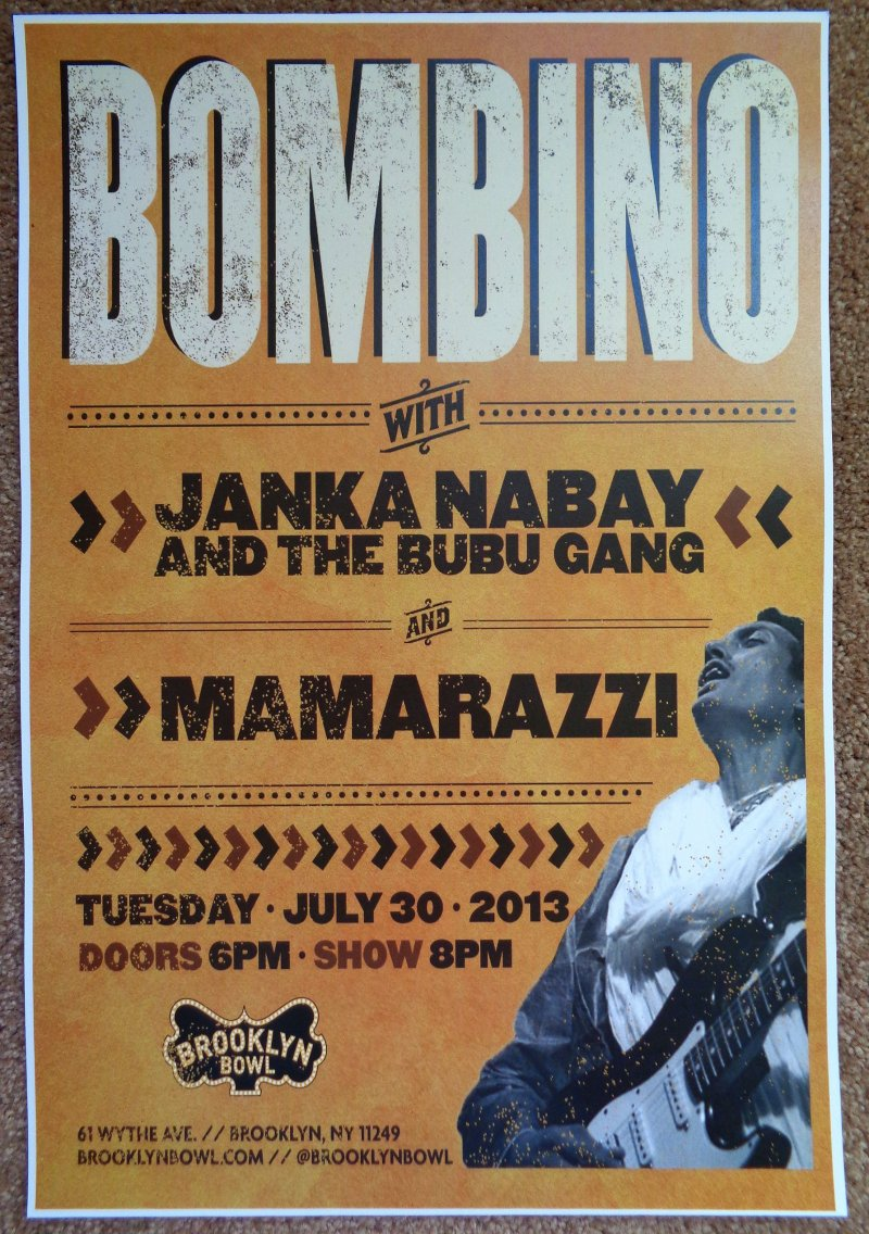 BOMBINO 2013 Gig POSTER Omara Moctar Brooklyn New York Concert Niger Africa