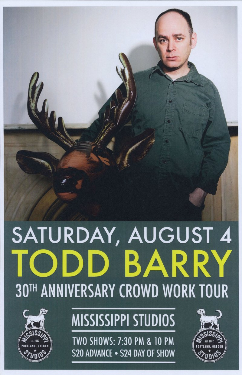 Barry TODD BARRY 2018 Gig POSTER Comedy Portland Oregon