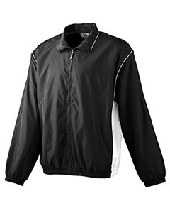 Augusta Youth Micro Poly Full Zip   Black White   L