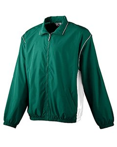 Augusta Youth Micro Poly Full Zip   Dark Green White   L