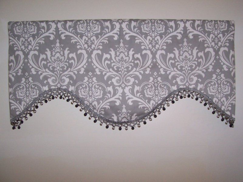 Custom Gray Ozborne Deep Scallop Valance with Fringe