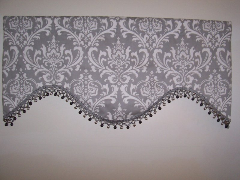 Image 2 of  Custom Gray Ozborne Deep Scallop Valance with Fringe