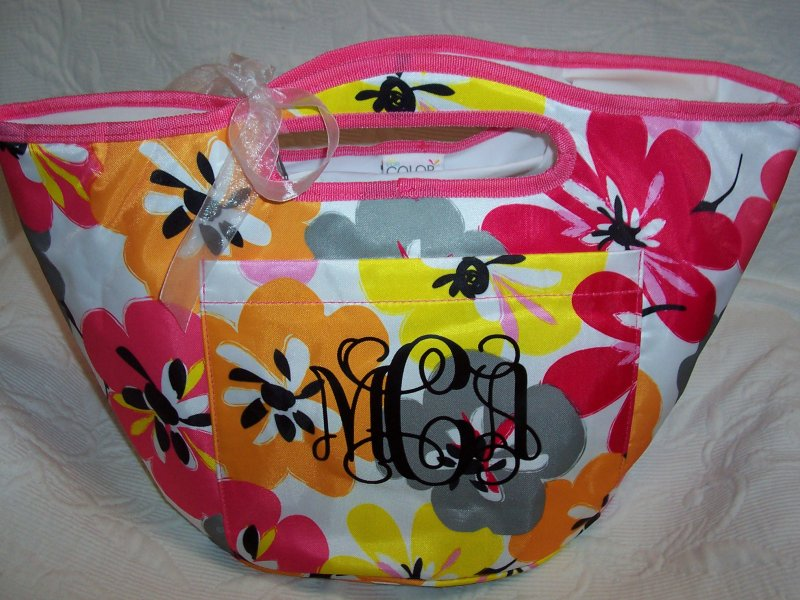 Image 0 of Monogrammed Floral Insulated Cooler Tote