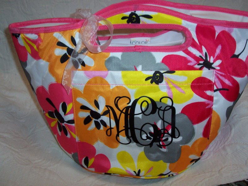 Image 1 of Monogrammed Floral Insulated Cooler Tote