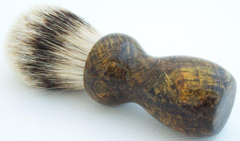 Image 0 of Olive Color Back Ash Burl Wood 22mm Super Badger Shaving Brush (Handmade in USA)