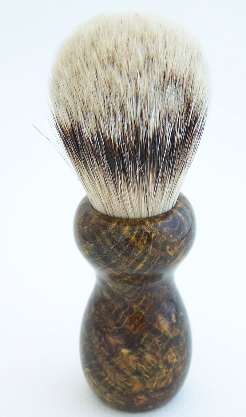 Image 1 of Olive Color Back Ash Burl Wood 22mm Super Badger Shaving Brush (Handmade in USA)