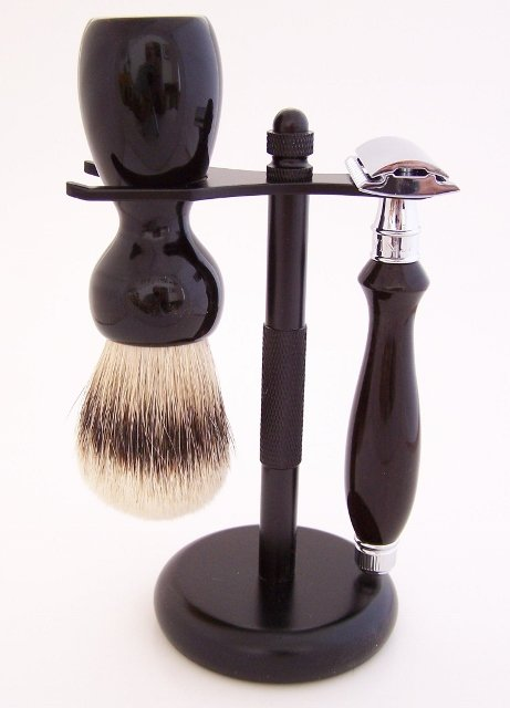 Image 0 of Ebony Shaving Set: 24mm Super Silvertip Brush and Edwin Jagger Safety Razor (G1)