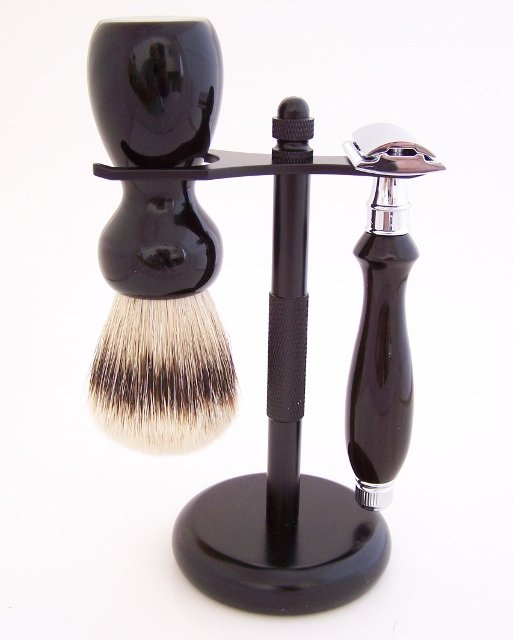 Image 0 of Ebony Shaving Set: 24mm Super Silvertip Brush and Edwin Jagger Safety Razor (G3)