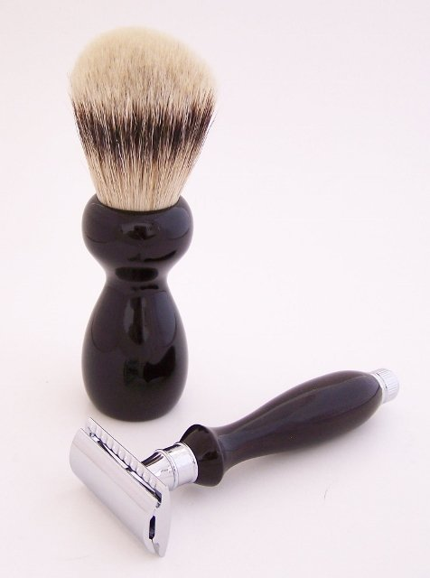 Image 1 of Ebony Shaving Set: 24mm Super Silvertip Brush and Edwin Jagger Safety Razor (G3)