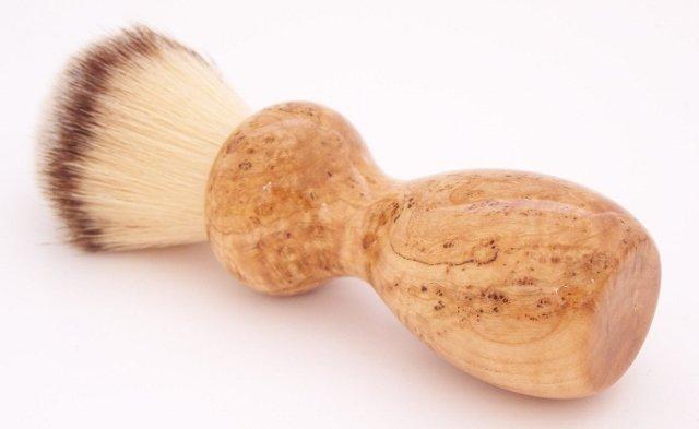 Image 0 of Black Cherry Burl Wood 22mm Modern Synthetic Shaving Brush (Handmade on USA) C2