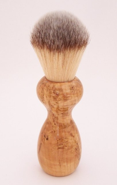 Image 1 of Black Cherry Burl Wood 22mm Modern Synthetic Shaving Brush (Handmade on USA) C2