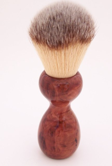 Image 1 of Red Mallee Burl Wood 22mm Modern Synthetic Shaving Brush (Handmade on USA) M1