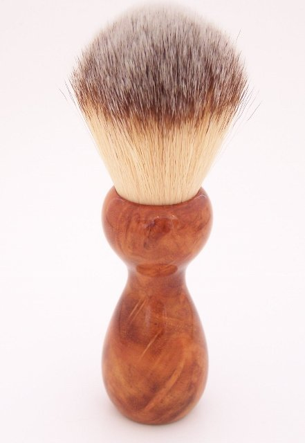Image 1 of Paela Burl Wood 22mm Modern Synthetic Shaving Brush (Handmade on USA) P1