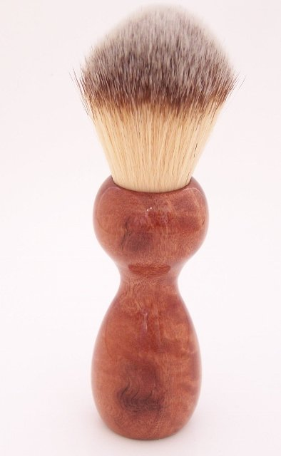 Image 1 of Curly Eucalyptus Wood 22mm Modern Synthetic Shaving Brush (Handmade on USA) E1