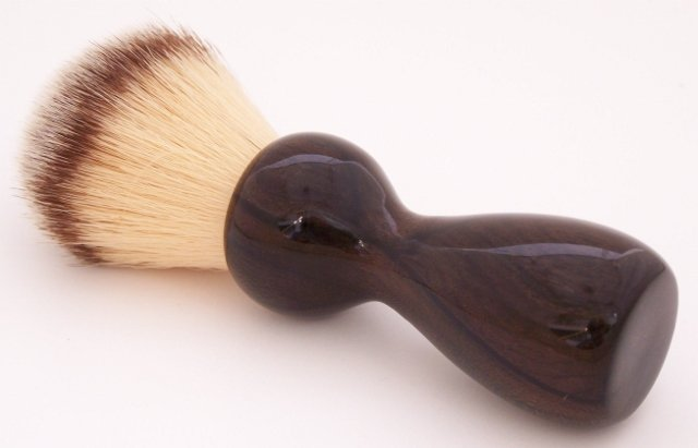 Image 0 of Ziricote Wood 22mm Modern Synthetic Shaving Brush (Handmade on USA) Z1