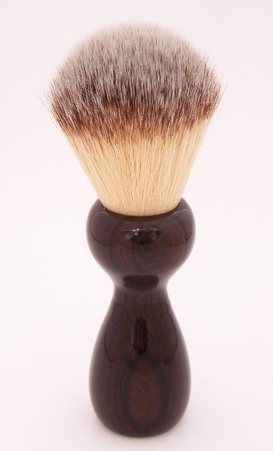 Image 1 of Ziricote Wood 22mm Modern Synthetic Shaving Brush (Handmade on USA) Z1