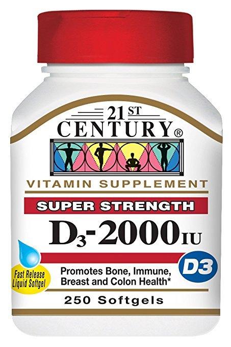 21st Century Vitamin D3 2000IU Soft Gels 250 Ct