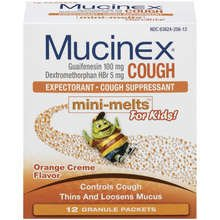 Mucinex Kids Cough Expectorant Mini Melts Orange Creme Flavor Packets 12
