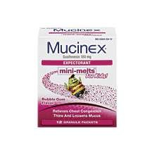 Mucinex Junior Strength Expectorant Mini Melts Bubble Gum 12