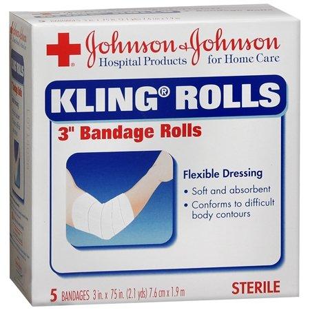 Johnson & Johnson Kling Rolls 3 X 75 Inch Sterile Bandage Rolls 5