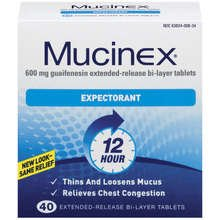 Mucinex Expectorant 600 mg Tablets 40