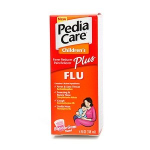Pediacare Childrens Fever Reducer Plus Flu Bubble Gum 4 oz