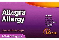 Image 0 of Allegra Allergy Relief 12 Hour 60mg Tablets 12 ct Blister Pack