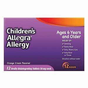 Allegra Children s Allergy Relief 12 Hour 30mg ODT 12 ct Orange Creme