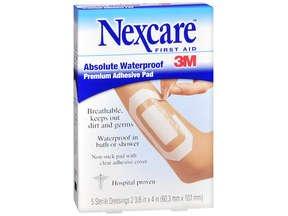 Nexcare Absolute Waterproof Premium Adhesive Pad, 2-3/8'' x 4''-5 Ct