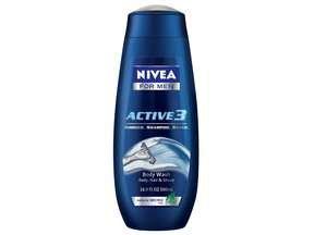 Nivea For Men Active 3 Body Wash 16.9 Oz