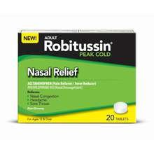 Image 0 of Robitussin Peak Cold Nasal Relief Non Drowsy Tablets 20Ea