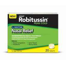 Image 0 of Robitussin Peak Cold Nasal Relief Night Time Tablets 20Ea