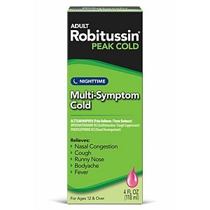 Image 0 of Robitussin Peak Cold Nighttime Multi-Symptom Cold 4 fl oz (118 ml)