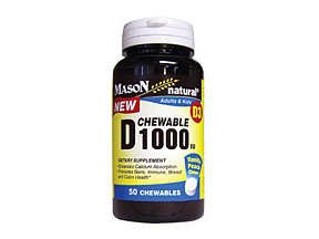 Image 0 of Mason Natural D 1000 Peach Vanilla Chewables - 50ct