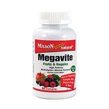 Image 0 of Megavite Fruits & Veggies, Multivitamin, 60 Caplets, Mason Natural