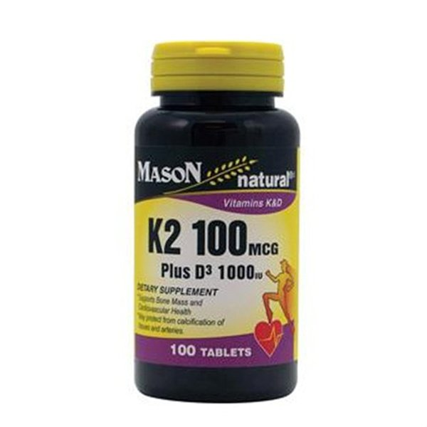 Image 0 of Mason Natural Vitamin K2 1000 mcg plus D3 1000 IU tablets - 100 ea