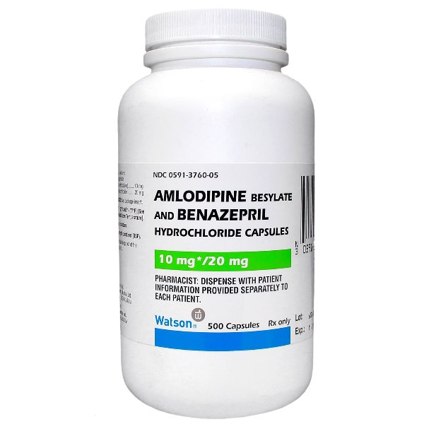 Amlodipine And Benazepril Caps 10-20MG 1X500 Each Caps Rx Required Mfg.by:Wat